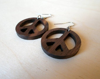 Walnut Peace Sign Earrings! (Metal hooks without nickel for no alergic reactions!)
