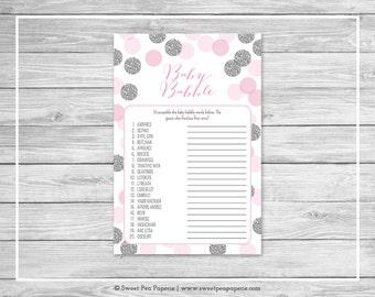 Pink and Silver Baby Shower Baby Babble Game - Printable Baby Shower Baby Babble Game - Pink and Glitter Baby Shower - Word Scramble - SP123