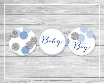 Blue and Silver Baby Shower Cupcake Toppers - Printable Baby Shower Cupcake Toppers - Blue and Silver Glitter Baby Shower - Toppers - SP124
