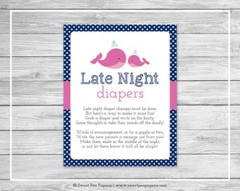 Whale Baby Shower Late Night Diapers Sign - Printable Baby Shower Late Night Diapers - Pink Whale Baby Shower - Diapers Sign - SP128