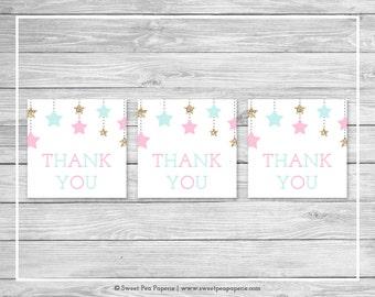 Twinkle Little Star Gender Reveal Favor Thank You Tags - Printable Gender Reveal Thank You Tags - Pink Aqua Gold Gender Reveal - SP139