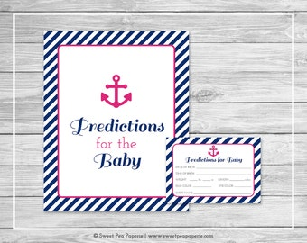 Nautical Baby Shower Predictions for Baby - Printable Baby Shower Predictions for Baby - Navy Pink Baby Shower - Baby Predictions - SP119