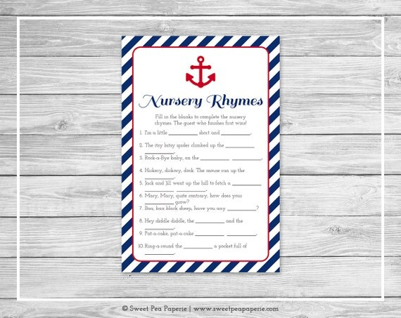 nautical baby shower nursery rhyme game printable baby shower