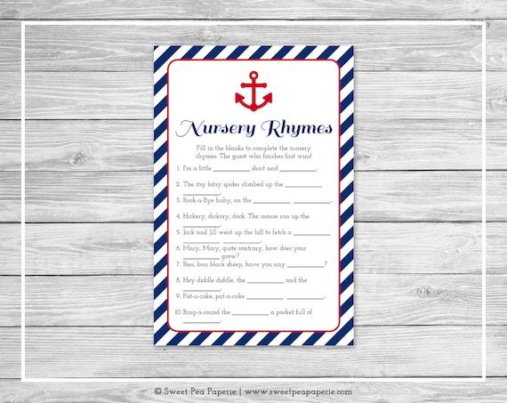 nautical baby shower nursery rhyme game printable baby shower