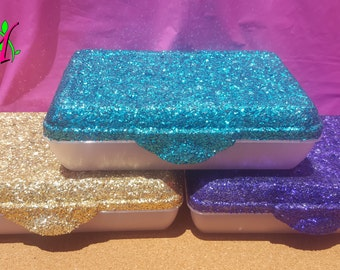 Glitter Pencil Box, School Supplies, Office Supplies, Pencil Holder,  (Plastic) (Your Choice of Color)