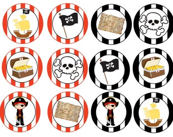 Edible Pirate Cupcake/Cookie toppers