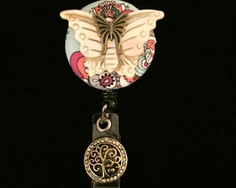 Ivory Flutter Fly-Nurse Retractable ID Badge Reel/ RN Badge Holder/Doctor Badge Reel/Nurse Badge Holder/Name Badge/Nurse Gift