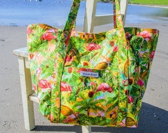 Large Beach bagtote - Flamingo Lattice