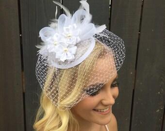 Bridal fascinator hat, flower fascinator, white fascinator, tea party hat,  bride to be, church hat, formal hat, fascinators, hats