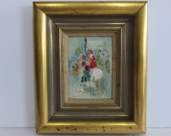 Signed Mid-Century Modern Impressionist Abstract Painting On Board.