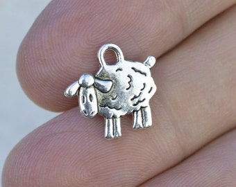 Sheep Charms, Silver Sheep, 50 Pieces, Antique Silver Charms, #BCH297, Animal Charms, Bulk Charms, Farm animal charms, Alloy Charms