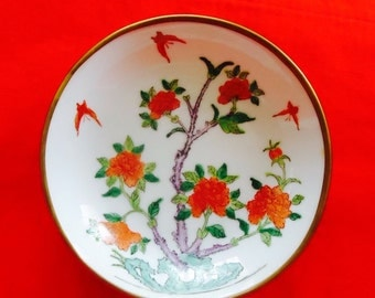 Japanese Porcelain Ware Bowl Decorated in Hong Kong and Encased in Brass Ring Vintage