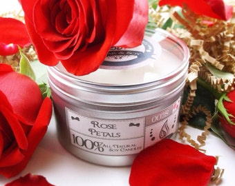 Rose Petal Soy Candle, Rose Soy candle, Rose Candle, Romantic Candle, Floral Soy Candle, Natural Soy Candle, Handmade Soy Candle, Gift Idea