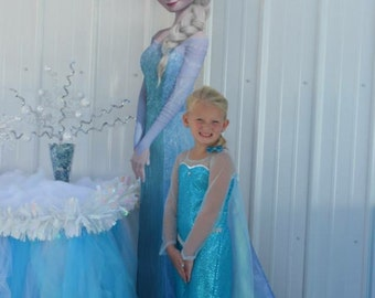 Elsa dress costume frozen children birthday girl frozen dress