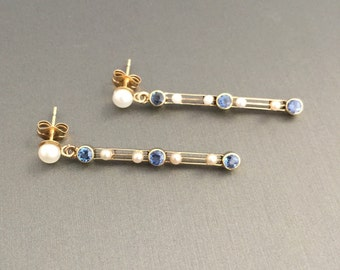 14K Yellow Gold Antique Victorian Blue Sapphire Seed Pearl Dangle Earrings