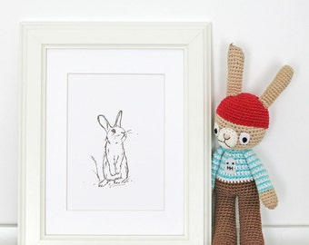 Rabbit Letterpress Art Print