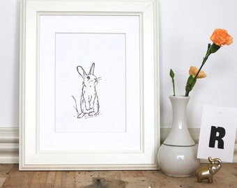 Rabbit Letterpress Art Print