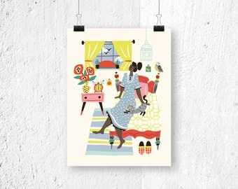 Poster - Sunday Morning - print - poster morning - poster living room - poster interior decoration - cute print - gift for her - gift idea