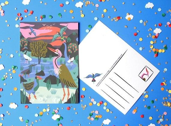 card a6 bird reserve cambodia greeting card  postcard