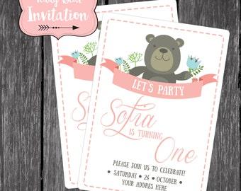 Pink Teddy Bear Invitation Baby Beary Sweet Printable Invite Baby Shower Baby Girl First Birthday - Bear Birthday Invitation