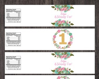 Personalized Water Bottle Labels -  Birthday Botle Labels  - Personalized Bottle Labels - First Birthday - Pink Blush Mint and Gold