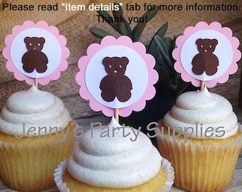 Pink Teddy Bear Cupcake Toppers, Brown Bear Cupcake Toppers, Pink Bear Cupcake Toppers, Bear Toppers