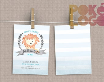 Birthday Invitation, Woodland Animals, Baby Lion Birthday Invite, Printable, Digital, Print at Home, Custom, girl, boy, invite, baby shower