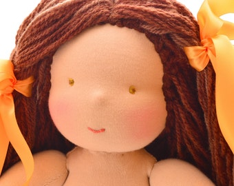 "Waldorf doll 11,8"" with hazel eyes and brown hair"