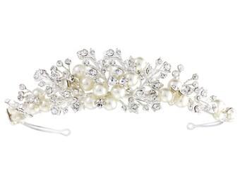 Bridal Pearl Crystal Tiara, Ivory Pearl Crystal Tiara, Bridal Tiara, Bridal Headband, Pearl Tiara, Wedding Tiara
