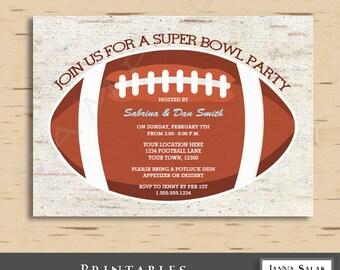 Football Super Bowl Invitation 5x7 Invite Diy INSTANT DOWNLOAD You Edit PDF