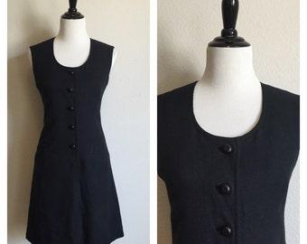 "1960s Vintage ""Gladys Scott"" Sleeveless button up dress // 60s Black Mod Mini Dress Sz. Medium"