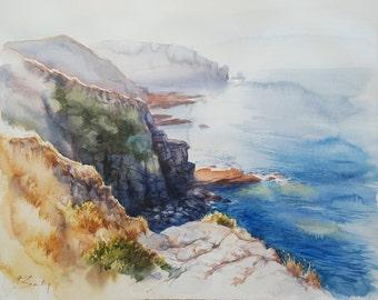 ORIGINAL WATERCOLOR on Arches paper, marine landscape, 57 cm X 45cm, figurative art painting