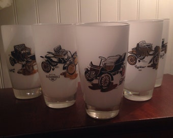 Vintage Car Drinking Frosted Glasses with Black and Gold Design, Set of 5