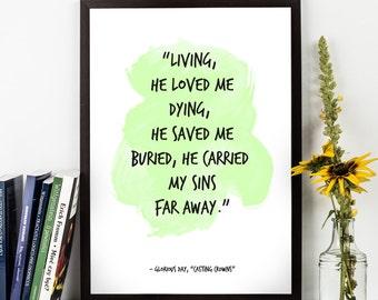 Living, he loved me (...), Glorious Day Lyrics,  Casting Crowns Words, Song lyrics, Inspirational quote, Music Lyrics, Song Art print.
