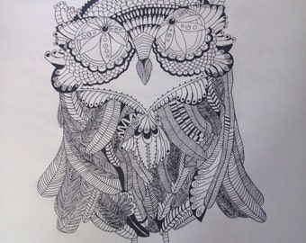 Print Owl Drawing A2 b/w