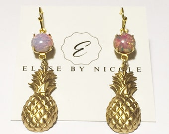 Pink and gold pineapple earrings
