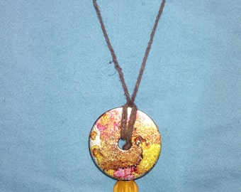 Washer necklace with charm
