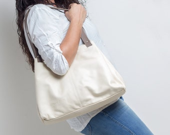 white bag - white tote bag - white leather tote bag - white leather handbag - white leather purse - womens handbags - DAFNA MS7012 - Cream