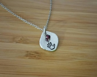 Hand Stamped Handprint Aluminum Necklace Pendant with Stone or Crystal Dangle Custom Personalized Baby Name