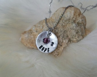 Hand Stamped Pendant HOPE with Awareness Ribbon and Crystal Color to Support your Cause Necklace