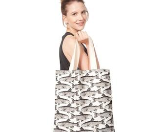 Cotton Canvas Fish Tote Bag