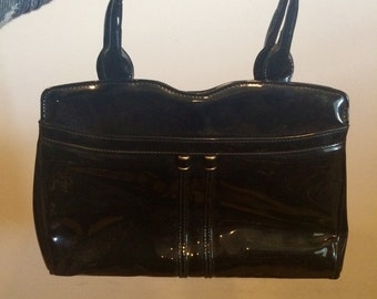 Vintage Black Patent Leather Purse