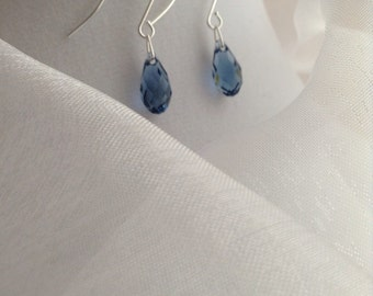 925 - Blue Swarovski Briolette Crystal Earrings
