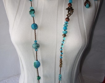 112  Turquoise and Copper Extra Long Necklace Set
