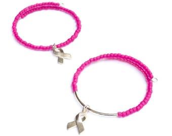On Wednesday We Wear Pink - Breast Cancer Ribbon Bracelet - Hot Pink Bracelets - Pink Ribbon - Cancer Survivor Gift - Inspirational Bracelet