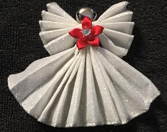 White Glitter Angel Ornament