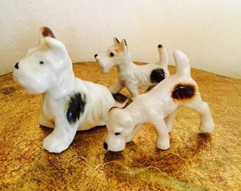 Small Dog Figurines, Scottie Dog Trio, Mama Dog Figurine, Scotty Dog