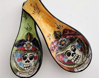 Talavera Spoon Rest, Day of the Dead Catrina, Mayolica - Mexican Pottery, Spoon Rest