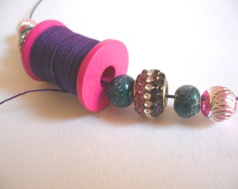 Thread spool wood thread purple pink glitter Alumminium and vintage ceramic beads purple pink, ooak