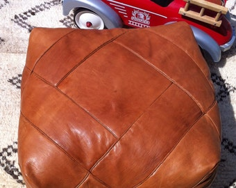 LARGE Moroccan Contemporary, Luxurious design,  100% Leather, Hand Stitched Square Pouffe /UNSTUFFED